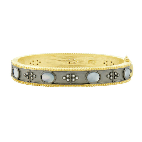 Mother of pearl hinge bangle bracelet shown solo
