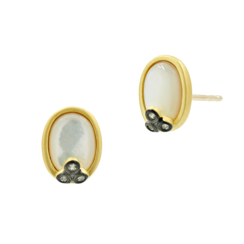 Oval mother of pearl earrings with gold and black accents