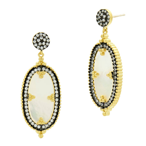 Oval mother of pearl earrings with black and gold accent stunning gifts