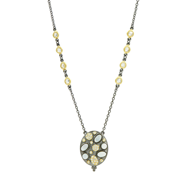 Imperial Multi-stone Oval Disc Pendant Necklace