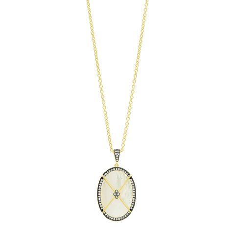 Oval Mother of Pearl Pendant Necklace solo shot