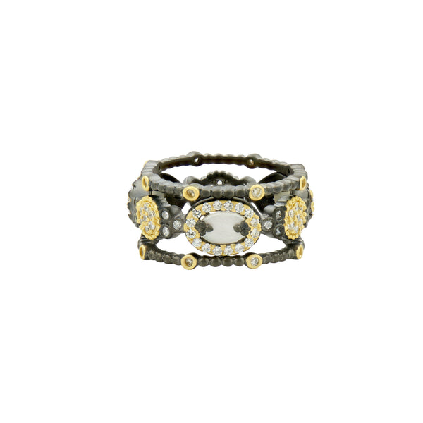 Imperial Mother of Pearl and Pavé 3-stack Ring