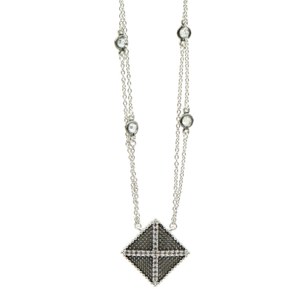 Industrial Finish Double Strand Pendant Necklace - FREIDA ROTHMAN