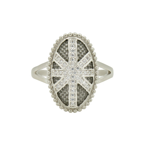 Industrial Finish Oval Pave Cocktail Ring - FREIDA ROTHMAN