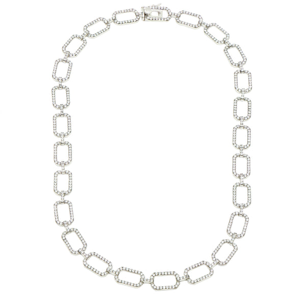 Industrial Finish Pave Link Chain Necklace