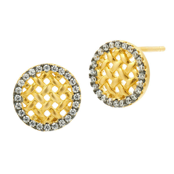Lattice Motif Stud Earrings