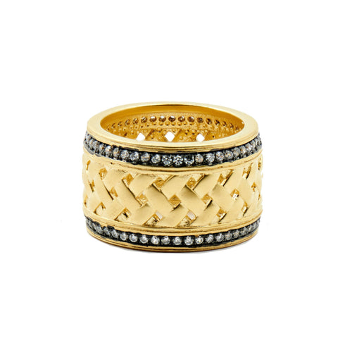 Textured Ornaments Wide Band Ring - FREIDA ROTHMAN