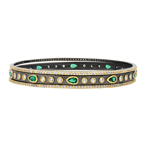 Midnight Emerald 3-Stack Bangles