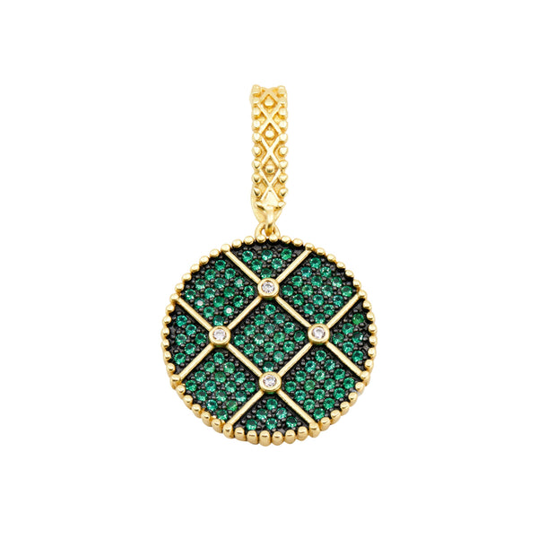 Double sided midnight emerald pendant