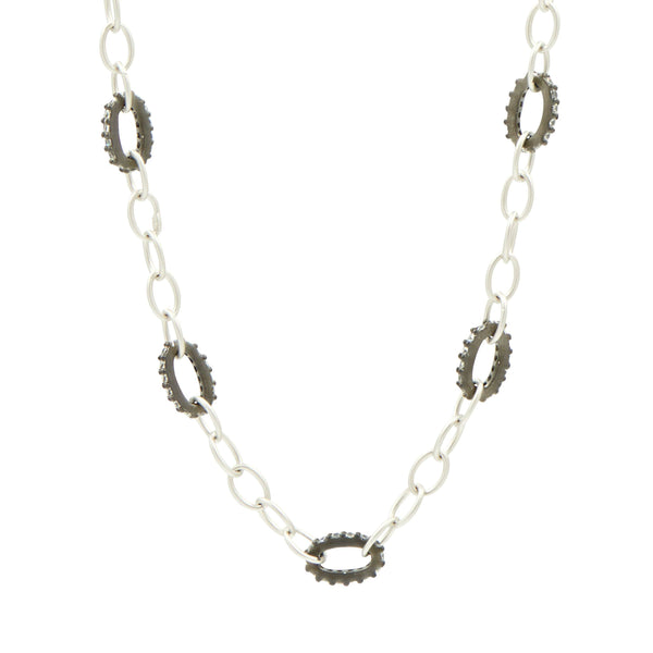 Contemporary Deco Alternating Chain Link Necklace - FREIDA ROTHMAN