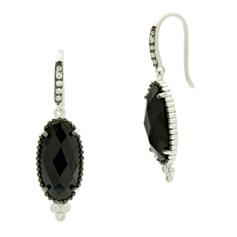 Oval Fishhook Earrings in Black and White