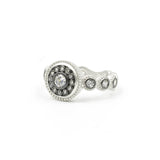Nautical Button with Stone Band Ring