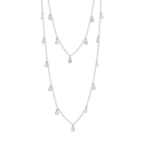 Bezel Droplet Strand Necklace