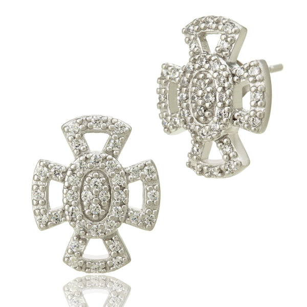 Open Pav̩ Maltese Stud Earrings - FREIDA ROTHMAN