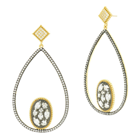 Rose D'or Open Teardrop Earrings - FREIDA ROTHMAN