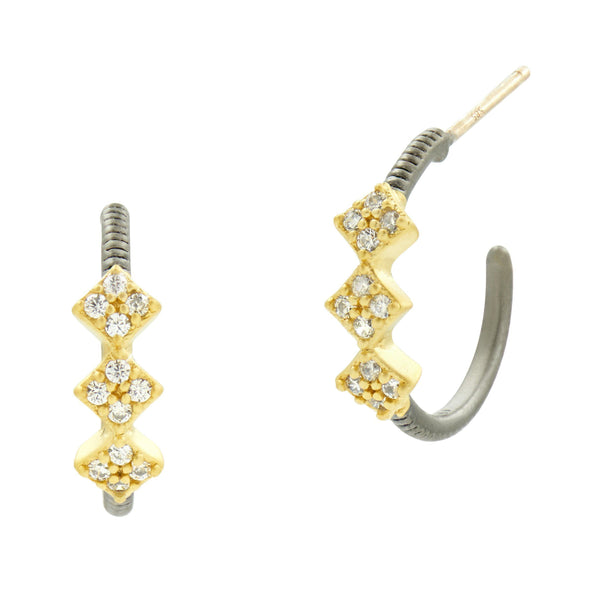 Rose D'or Hoop Huggie Earrings - FREIDA ROTHMAN