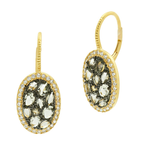 Rose D'Or Rosecut Stone Lever Back Earrings - FREIDA ROTHMAN