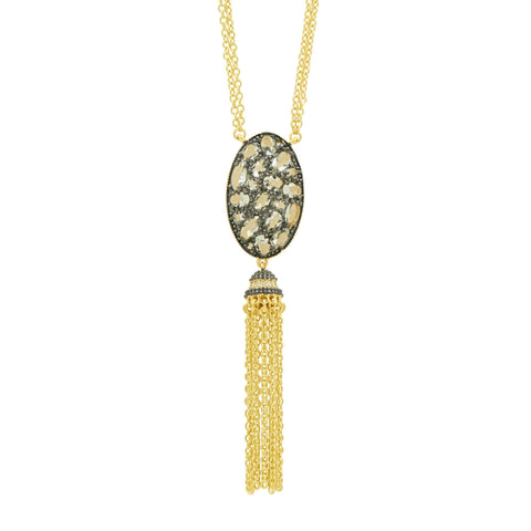 Rose D'or Tassel Pendant Necklace - FREIDA ROTHMAN