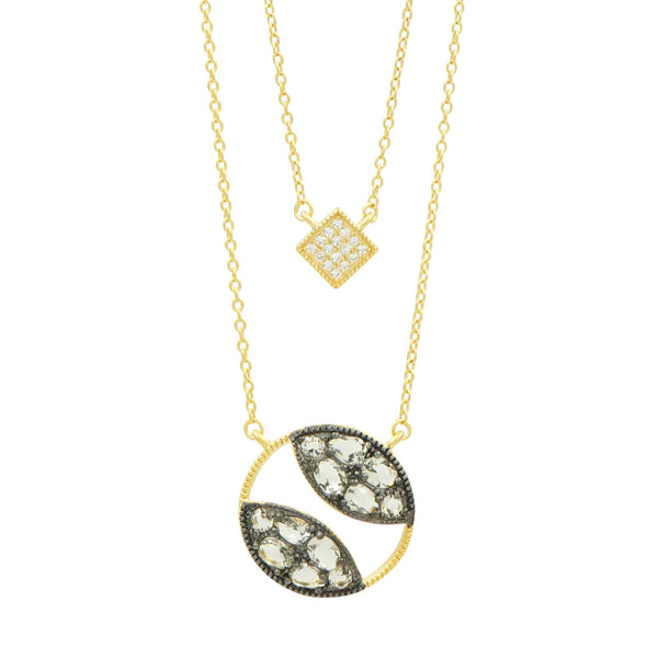 Rose D'or Double Pendant Necklace - FREIDA ROTHMAN