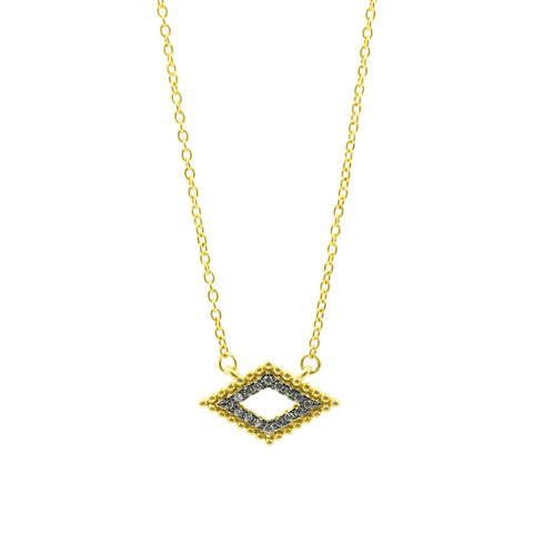 Rose D'or Horizontal Open Diamond Pendant Necklace