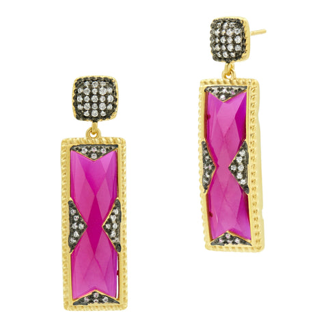 Rouge Rectangle Drop Earring - FREIDA ROTHMAN