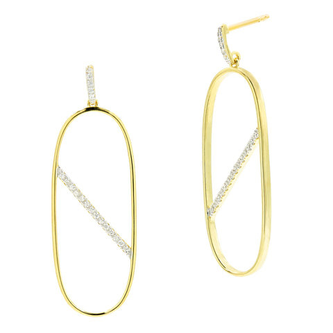 Strike-Through Oval Hoop Earring