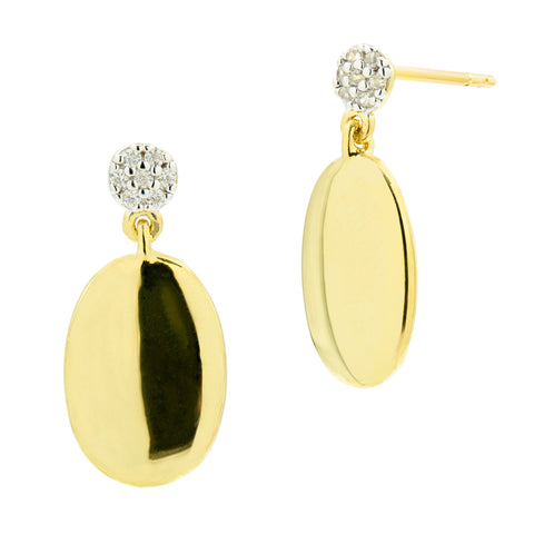 High Polished Oval Dangle Earring