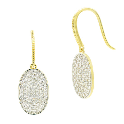 Pavé Oval Drop Earring