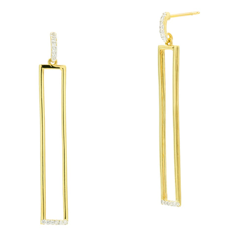 Open Rectangle Drop Earring