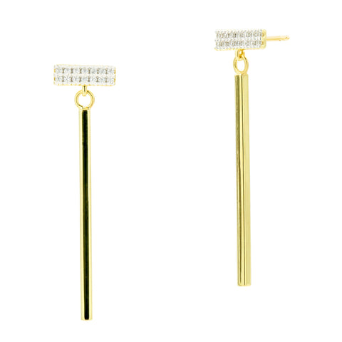 Horiztonal Pavé Bar Drop Earring