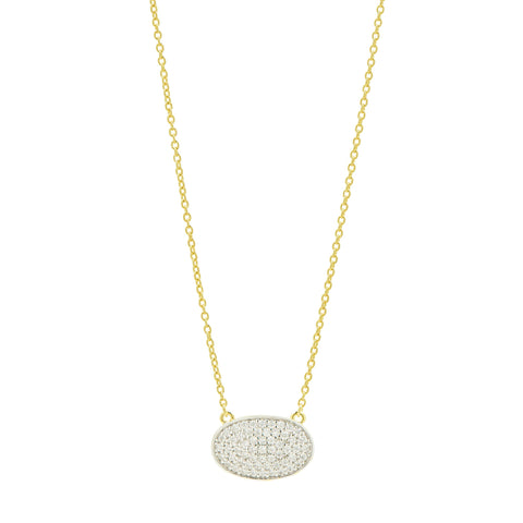 Pavé Oval Pendant Necklace