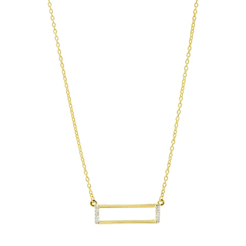 Open Rectangle Pendant Necklace