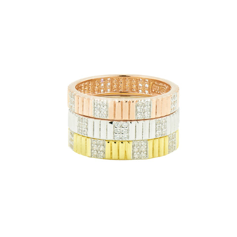 Sleek Tri-Color 3-Stack Ring