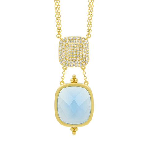 Ocean Azure Double Drop Pendant Necklace - FREIDA ROTHMAN