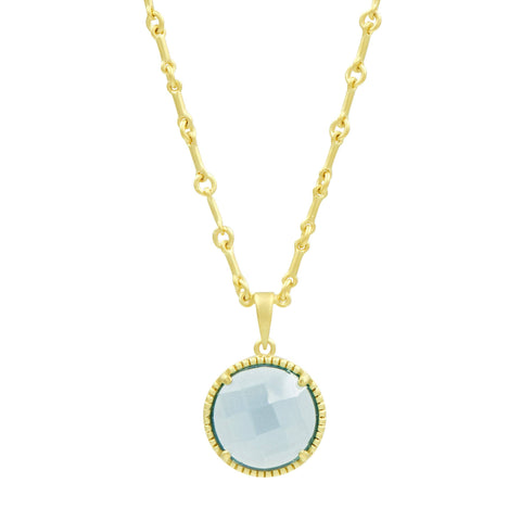 Blue Stone Single Pendant Necklace
