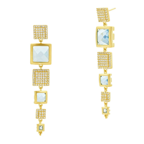 Ocean Azure Linear Drop Earrings - FREIDA ROTHMAN