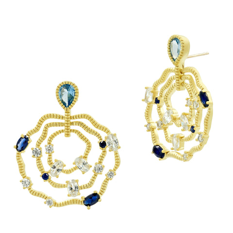 Wavy Earrings in Gold - Imperial Blue Collection
