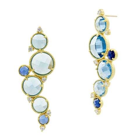 Cluster Drop Earrings - Imperial Blue Front View