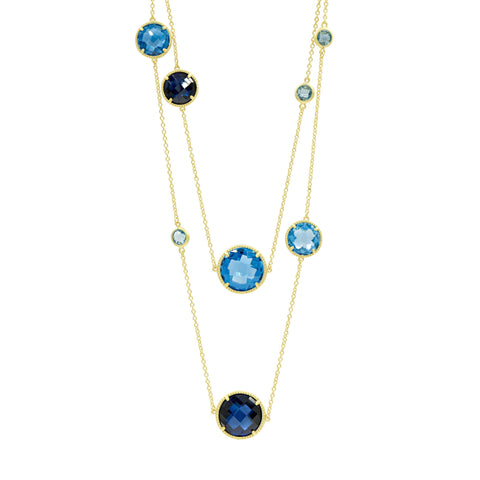 Imperial Blue Station Necklace Doubled