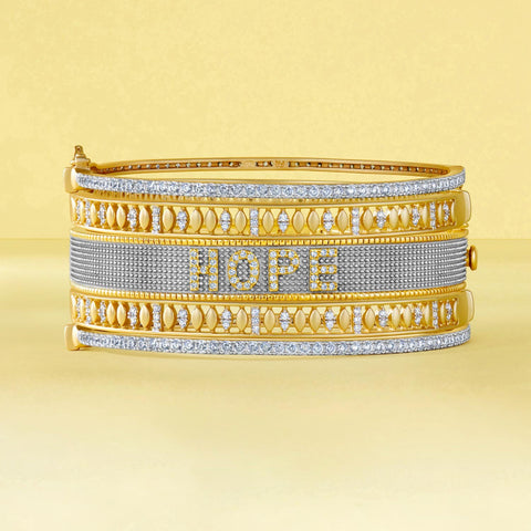 Gold and Diamond Bracelet with HOPE insignia