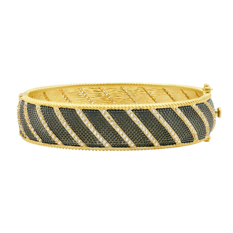 Textured Ornaments Wide Hinge Bangle - FREIDA ROTHMAN