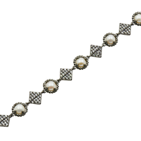 Pearl Soft Chain Bracelet in Black Gold