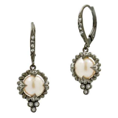 Industrial Finish Single Pearl Drop Earrings