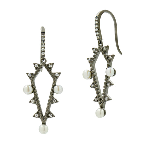 Textured Pearl Fish Hook Drop Hoop Earrings