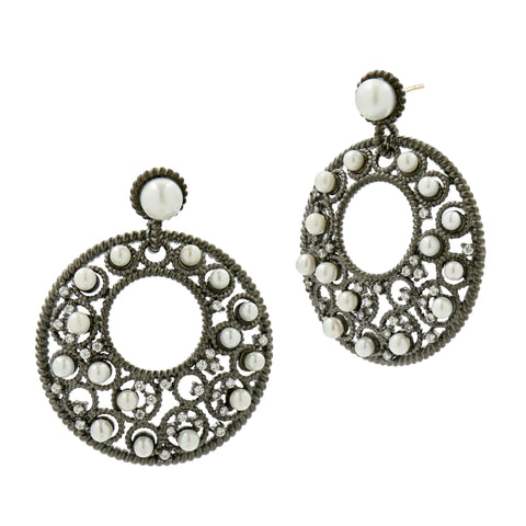 Floating Pearls Round Crescent Drop Earrings in Black Gold
