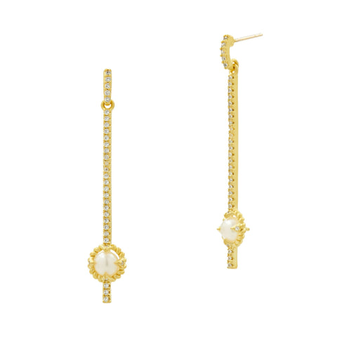 Linear Drop Earrings with Pearls in 14k