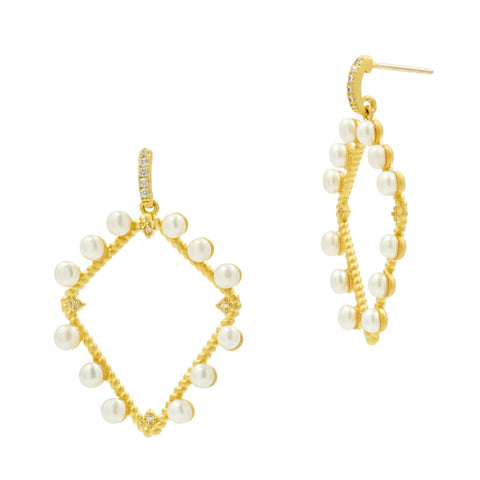 Geometric Pearl Open Drop Earrings