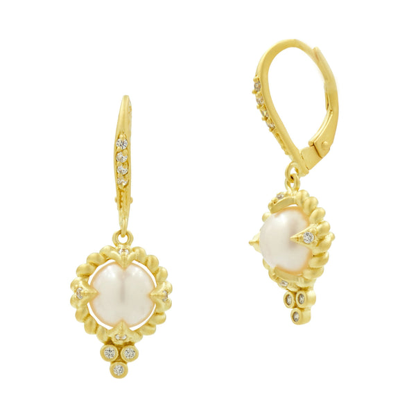 Single Textured Pearl Drop Earrings with Leverback in 14K Gold