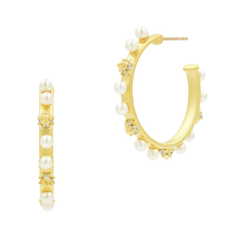 Pearl Hoop Earrings in 14K