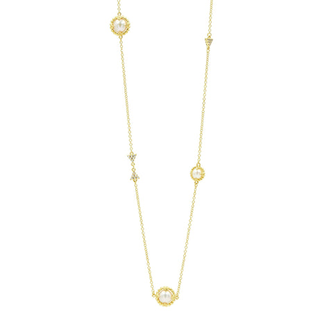"Pearl Stations 36"" Long Necklace in 14K Gold"